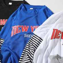 Una Reta T-Shirt Mens 2018 Spring New Brand Hip-Hop Stripe Splicing Summer Tee Top Fake Two Pieces Long Sleeve Men T Shirt
