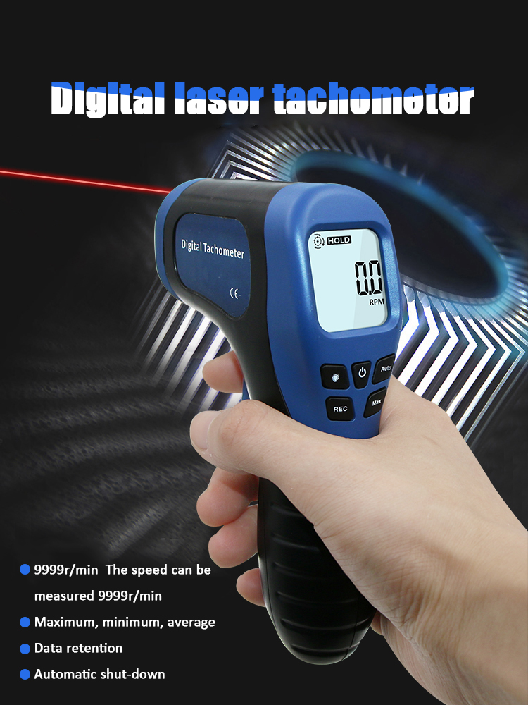 Digital Laser Photo Tachometer Gun Non-contact Rpm Tach Tester Meter Speed Gauge