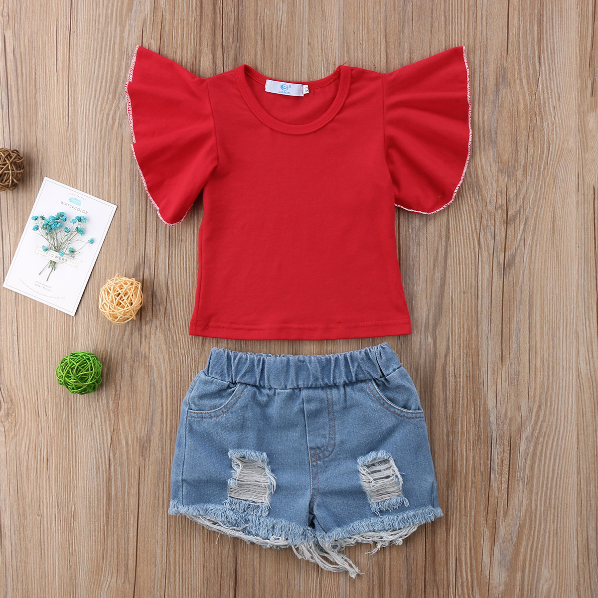 Cute Toddler Kids Baby Girls Short Sleeve Solid O-Neck Tops T-shirt Denim Shorts Pants Outfits Set Clothes