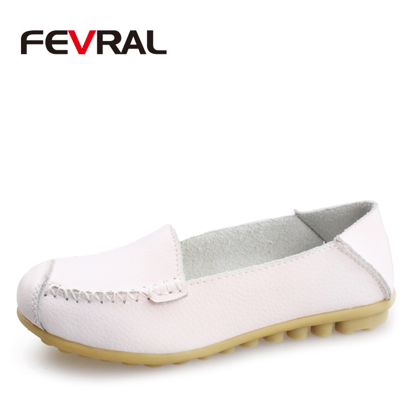 FEVRAL New Woman Flats 2018 Cow Leather Casual Sneakers Shoes Woman Moccasins Ladies Fashion Brand Woman Casual Shoes Size 35-41 2017 summer new women fashion leather nurse teacher flats moccasins comfortable woman shoes cut outs leisure flat woman casual s