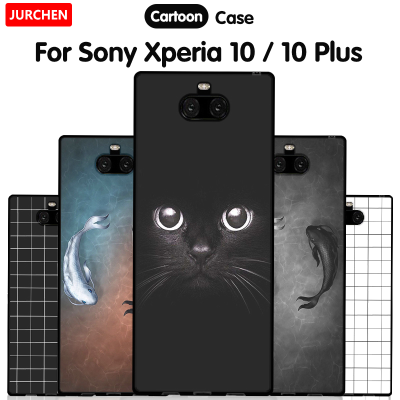 JURCHEN Phone Case For Sony Xperia 10 Cases For Sony Xperia 10 Plus Silicone Cartoon Soft Cover For Sony Xperia10 10Plus Case-in Fitted Cases from Cellphones & Telecommunications