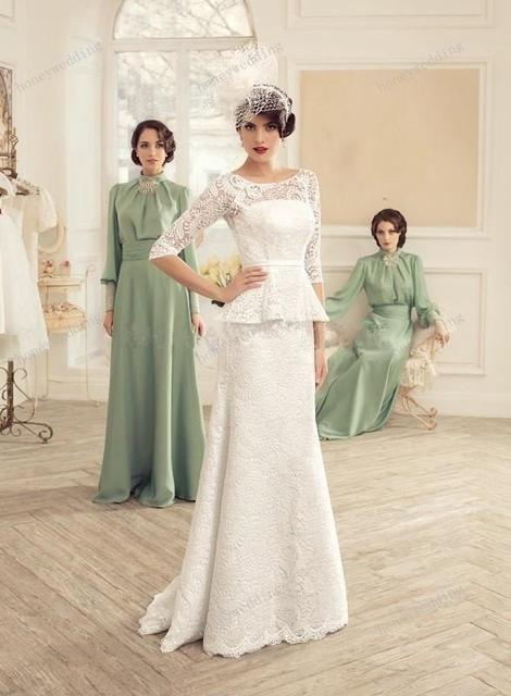 Green Vintage Style Wedding Bridesmaids Dresses