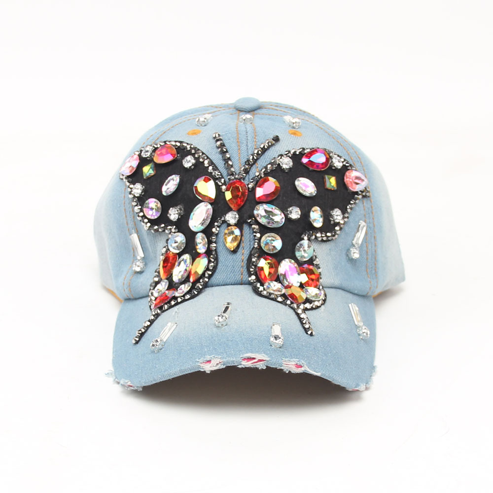 Iftec Jeans Baseball Caps Big Rhinestone Butterfly Vintage Style ... 8461db8c0523