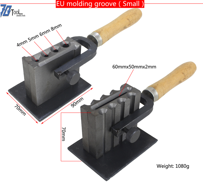 Gold / Silver / Metal EU Molding Groove Ingot Mould Jewelry Tools Size Adjustable