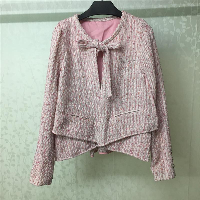 Tweed 2019 Abrigo De Mujer Otoño Mujeres Moda Rosa Capa Casual qSq6AwI4