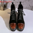 Krazing Pot 2018 genuine leather med heels round toe punk motorcycle boots women superstar party gradient color ankle boots L91