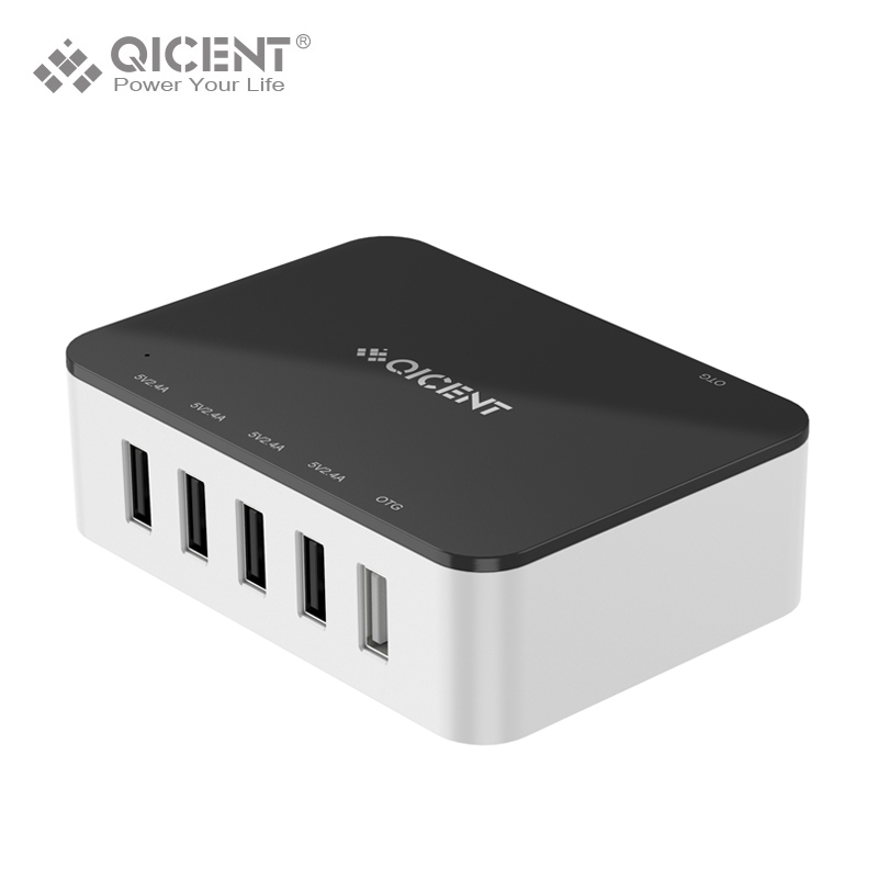 QICENT 39W 5 Port USB Charger Multi Charger with OGT Port for iPhone 7 7Plus iPad