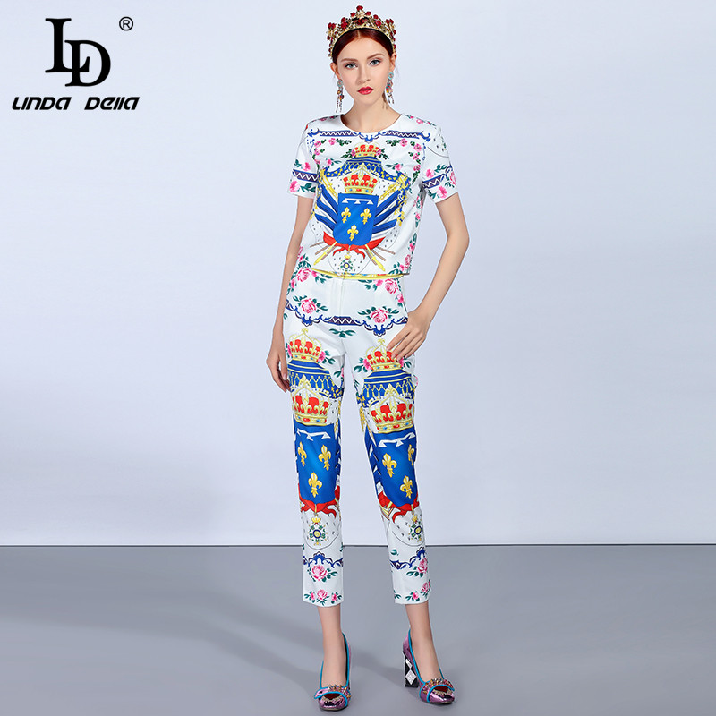 LD LINDA DELLA Fashion Runway Women's Suit Sets Pullover Top And Casual Vintage Floral Print Pants Suit Two-Pieces Set
