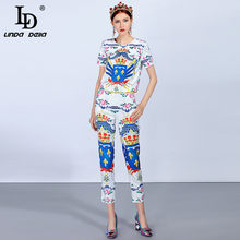LD LINDA DELLA Fashion Runway vrouwen Pak Sets Trui Top en Casual Vintage Bloemenprint Broek Pak Twee- delige Set(China)