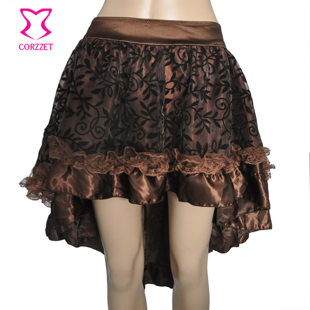Brown Floral Tulle Lace Satin Ruffle Front Short Back Long Asymmetrical  Victorian Steampunk Skirt Sexy Gothic Skirts For Women b738a8871ae