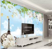 custom 3d photo wallpaper bed room mural Blue sky, white clouds, tower of paris TV background living room 3d wallpaper(China)