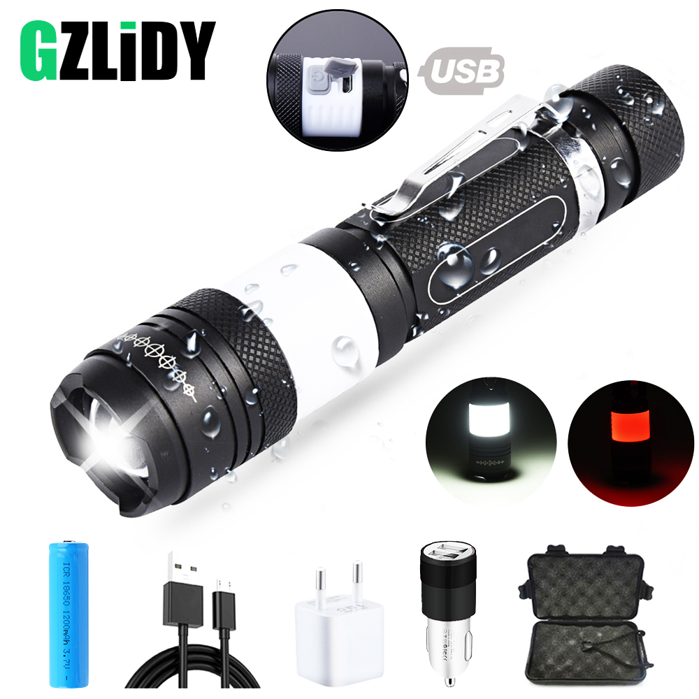 Usb Rechargeable Led Flashlight Super Bright Waterproof Sidelight 6 Modes Multifunction Torch Support Zoom Use 18650 Battery