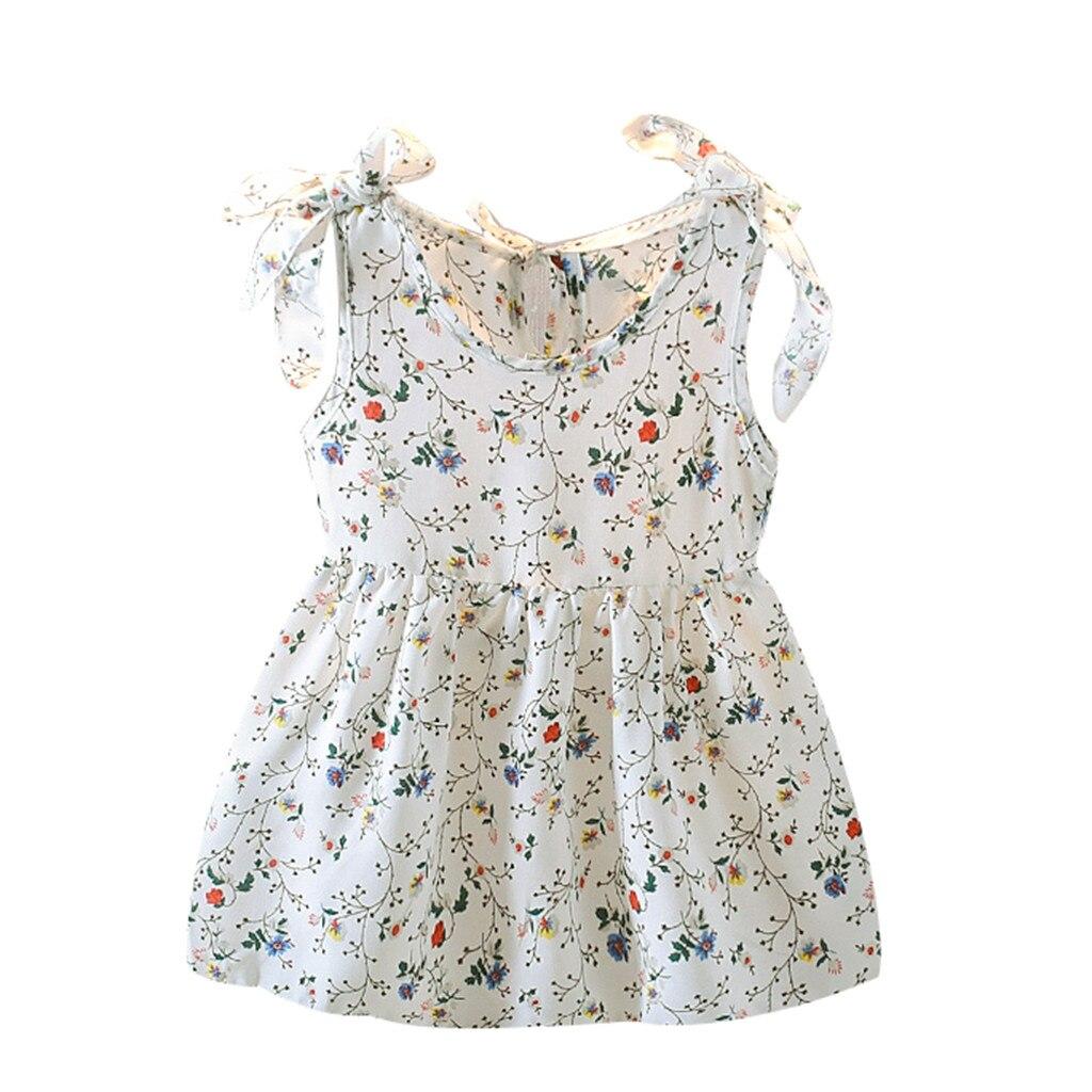 Платье для маленьких девочек; платья принцессы без рукавов с бантом и лентами; Детские Платья с цветочным принтом; Одежда для девочек; Vestidos - Цвет: White