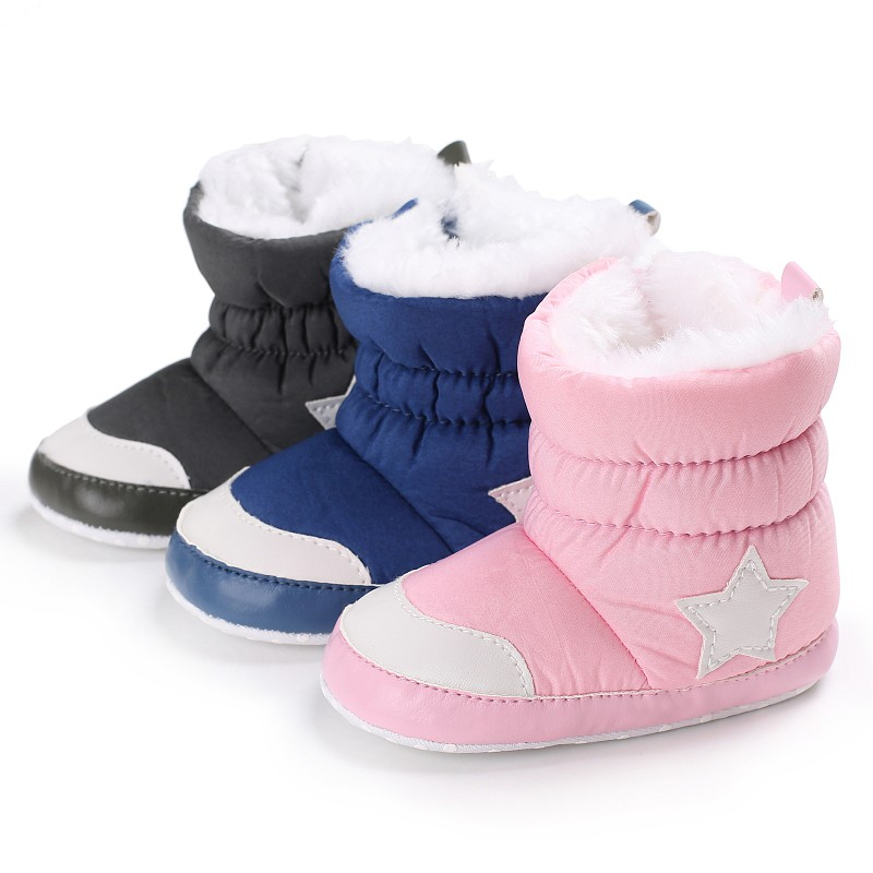 Unisex Kids Winter Shoes Newborn Baby Boots  Infant Toddler Star Printed Snowfield Snow Boots 6-18Months