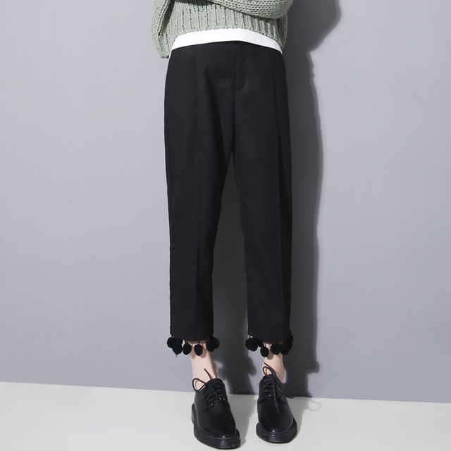 [TWOTWINSTYLE] 2017 Brand Designer Hair Ball Opeing Tassels Fleece Women Pants Black Free Shipping