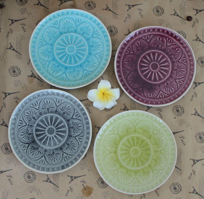 Crackle Glaze Ceramic Flat Cake Plate Dish Fruit Plate Mix ...