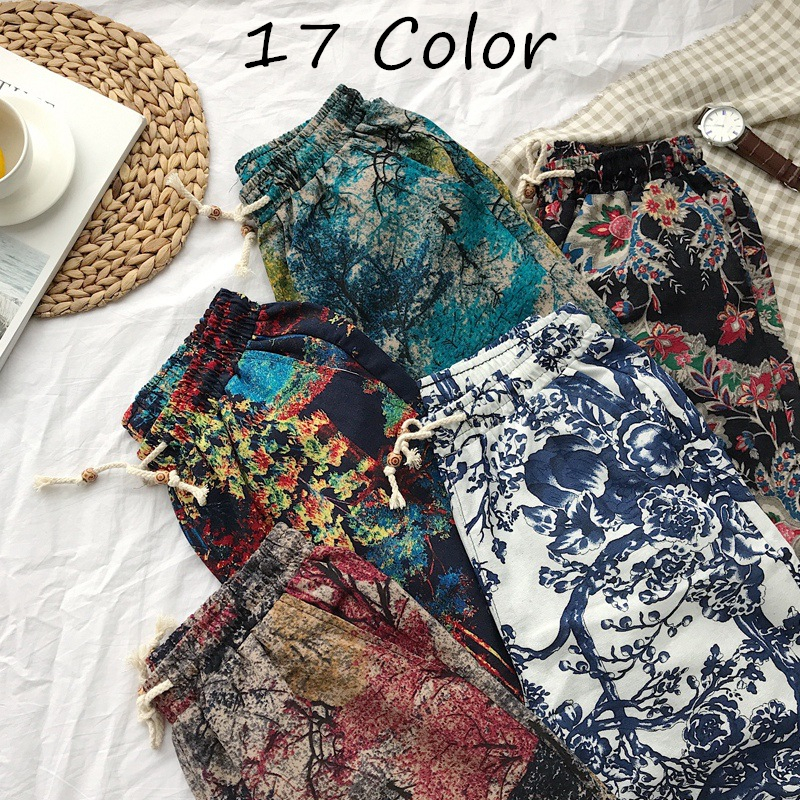 17Color Men's Casual Beach Floral Shorts 2019 New Summer Fashion Straight Cotton Linen Bermuda Hawaiian Short Pants Male Brand