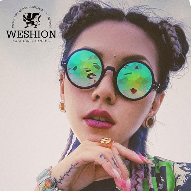 ac9bb429d1639 Caleidoscópio Mulheres Óculos Redondos Steampunk Óculos Homens Óculos De Sol  2018 Festival Senhoras Passarela Masculina Deslumbrar
