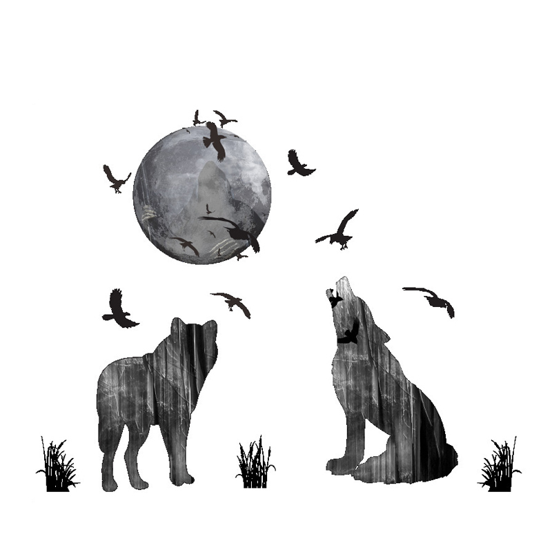 Creative Moonlight Wolf Animals Wall Sticker Home Decor Bedroom Living Room Background Mural Art Decals Stickers On Wall