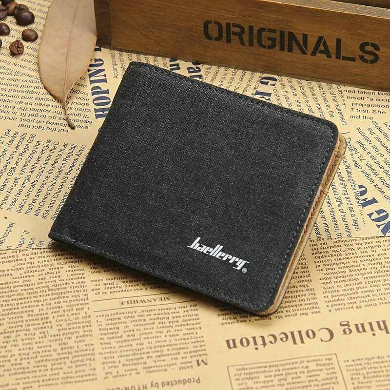fb9a5fce611d ... retro Canvas Men short brand Wallet vintage leather small Male Purse  coin Credit Card Holder thin ...