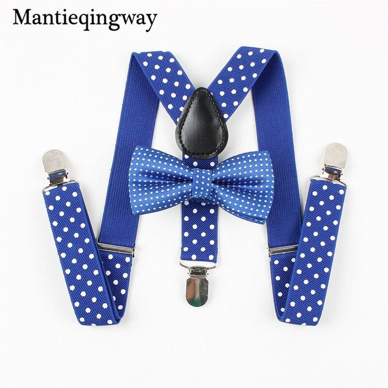 Smart Mantieqingway Fashion Solid Kids Belt Necktie Bow Ties Baby Boys Suspenders Set Shirt School Boys And Girls Adjustable Brace Refreshment Apparel Accessories