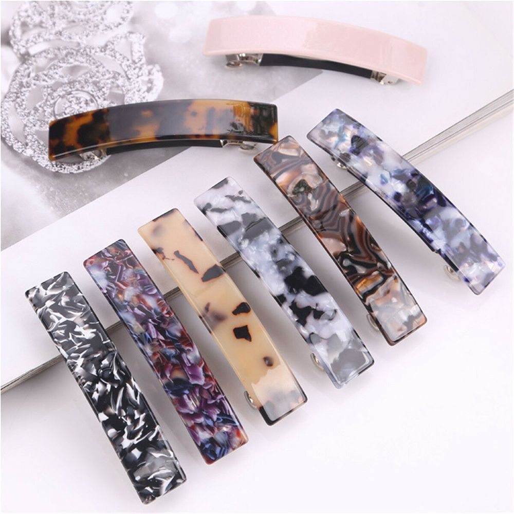 2pcs France Classic Rectangle Barrette Clasp Ponytail Hair Holders Clip Girl