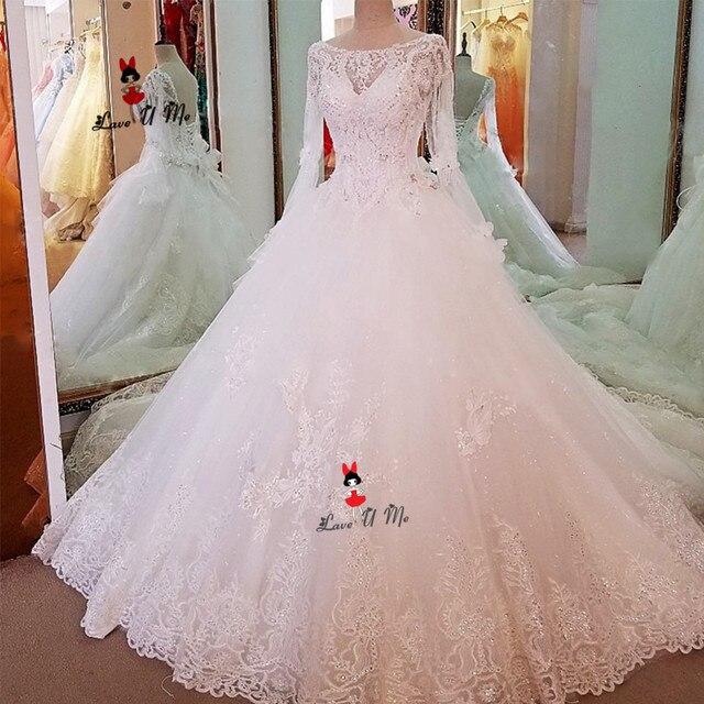 Vestidos de Noiva 2019 Vintage Wedding Dress Long Sleeve Lace Sparky  Sequined Princess Wedding Gowns Plus Size Bride Dress Boda d807a811fcb3