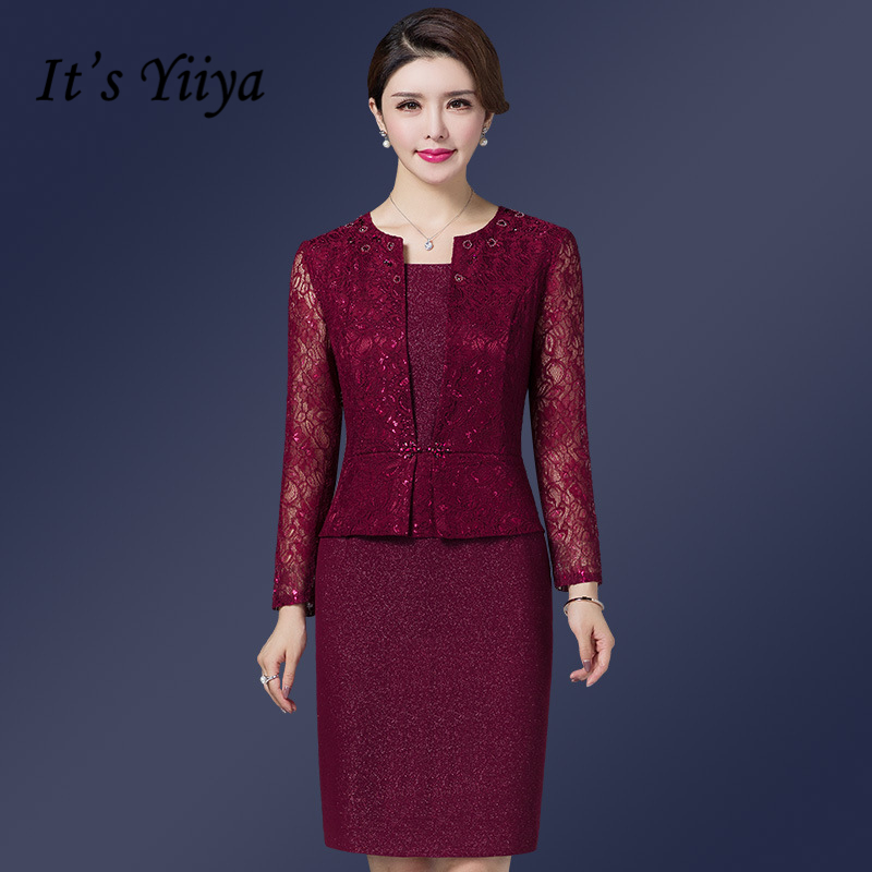 It's Yiiya Mother of the Bride Dresses Plus Size O-Neck Full Sleeve Lace A-Line Fashion Designer Elegant Mother Dress M041