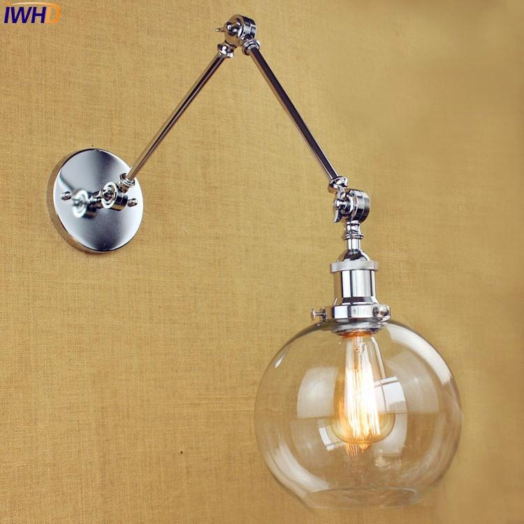 Glass Loft Retro Vintage Wall Light LED Home Lighting Edison Swing Long Arm Wall Lamp Industrial Wall Sconce Appliques Murale цена 2016