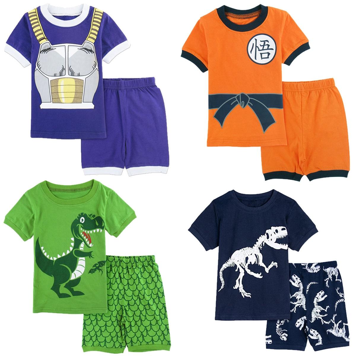 Kids Boys Dragon Ball Goku Vegeta Dinosaur Pajamas Set Toddler Shark Pirate Ship Truck Sleepwear Children Cartoon Nightwear 2PCS