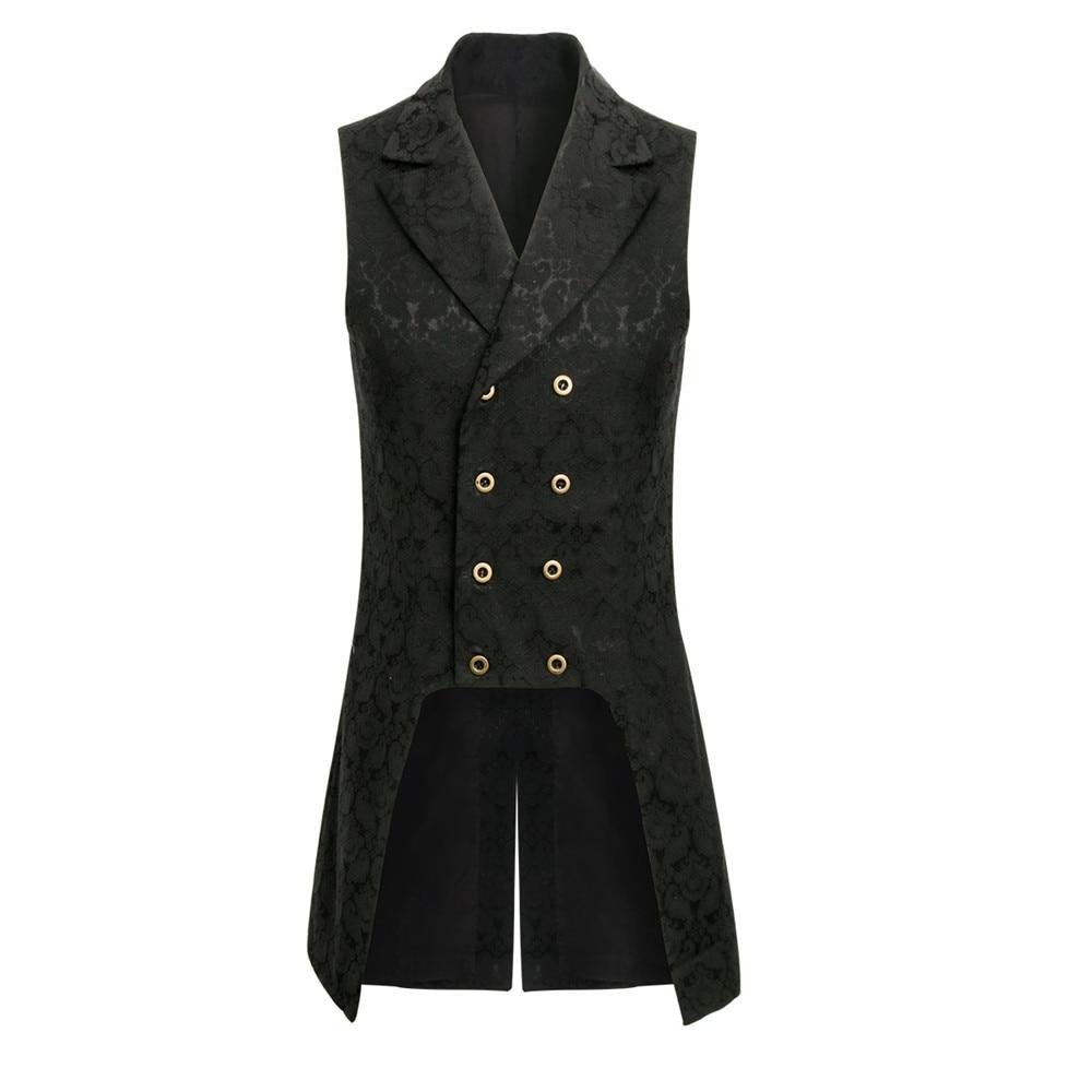 New Mens Steampunk Double Breasted Vest Waistcoat Gothic Top Brocade Aristocrat Elegant Vest Jacket Sleeveless V-neck Vest Coats
