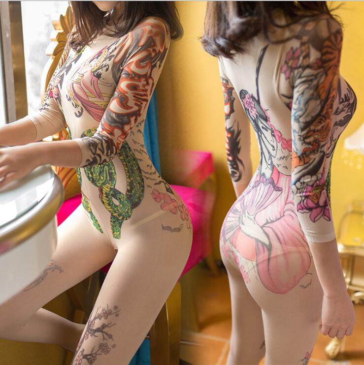 Tattoo Perform Costume Nightclub Bar Ethnic Style Tight Female Nude Color Perspective Jumpsuits Stage Sexy Slim Fit Costume