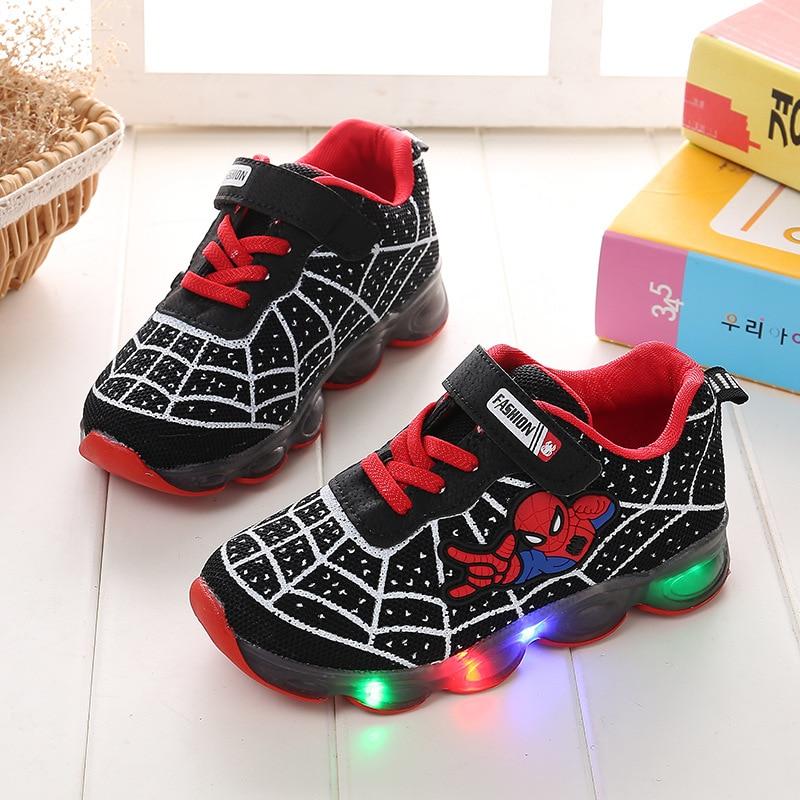 Anne ve Çocuk'ten Tenis Ayakk.'de Kız erkek örgü örümcek adam sneakers çocuk çocuk ayakkabı led ışık spor ayakkabılar bebek çocuk çocuk rahat örgü ayakkabı ayakkabı title=