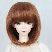LUCKY Hot 1 3 SD BJD Doll Wig Short Brown Straight Wigs Synthetic Fiber Hair