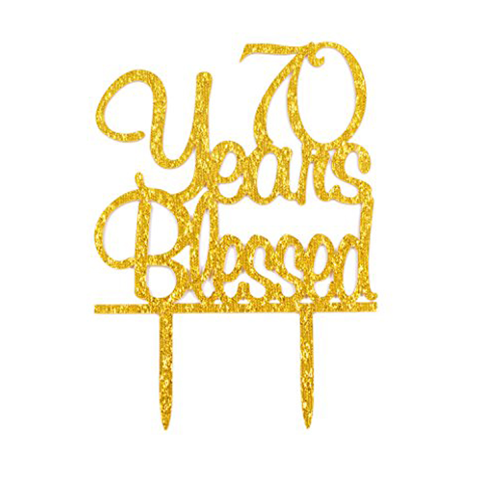 Custom age Happy Birthday Cake Topper,  70 Years Blessed Acrylic Cake Topper, 70Th Birthday Anniversary Party Decoration Custom age Happy Birthday Cake Topper,  70 Years Blessed Acrylic Cake Topper, 70Th Birthday Anniversary Party Decoration
