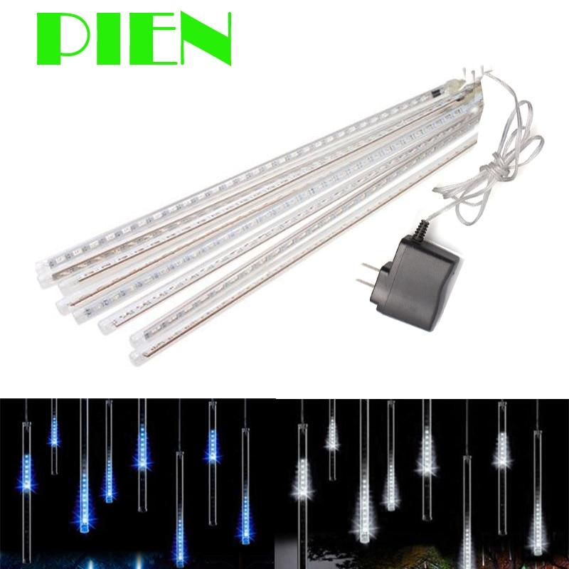 Garland 8 Tubes LED Meteor Shower Rain String Light 50cm 30cm Icicle Snowfall Raindrop Xmas Gerlyanda Decoration + Power Adapter