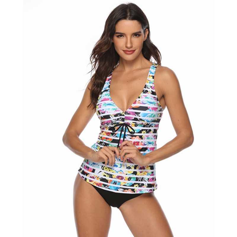 f1858c097c ... 2019 New Push Up Swimwear Women Plus Size Swimsuit Two Pieces Tankini  Vintage Stripe Bathing Suit ...