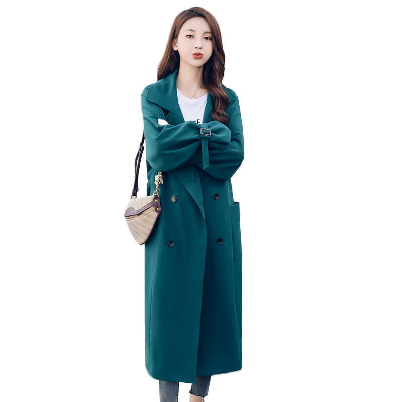 Long Trench Coat Women 2019 Spring Autumn Double-breasted Loose Students Casual Tops Long sleeve Windbreaker Female Coats A2521
