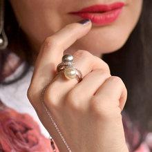 Женское кольцо с жемчугом и кристаллами 2 шт