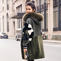 Women's Clothing 2016 Winter Fashion Sheepskin Long Section Full Pelt Double-faced Coat Raccoon Dog Fur Collar GSJ365