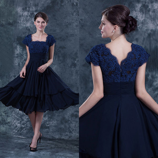 Aliexpress.com : Buy 2014 Navy Blue Lace Mother of Bride Evening ...