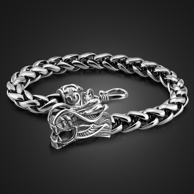 Retro fashion male Thai silver bracelet 925 Sterling silver 8 mm20cm wide bracelet real solid silver dragon bracelet man jewelry 925 sterling silver thai vintage pendant thai retro men male jewelry chian dragon bracelet ch059082