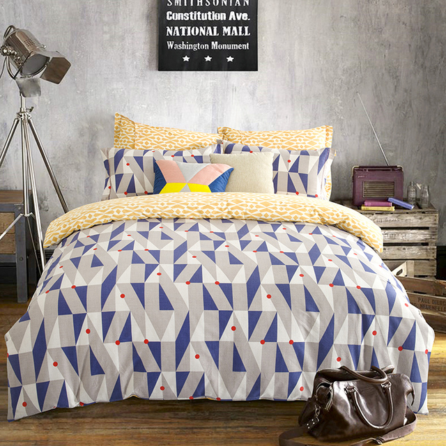 Queen King Size Geometric Bedding Sets Yellow White Bed Sheets Blue Gray