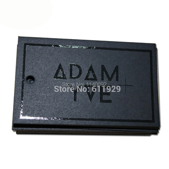 1000 pcs a lot 700 gsm matte black cardboard paper tag with black Spot UV Logo/custom clothing hang tag/garment paper tags