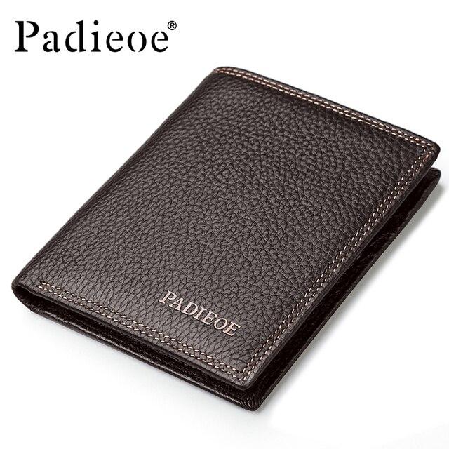 Padieoe Genuine Leather Purse Men Fashion Mens Slim Short Wallet Luxury Male Clutch Money Wallets Business Man's Card Holder
