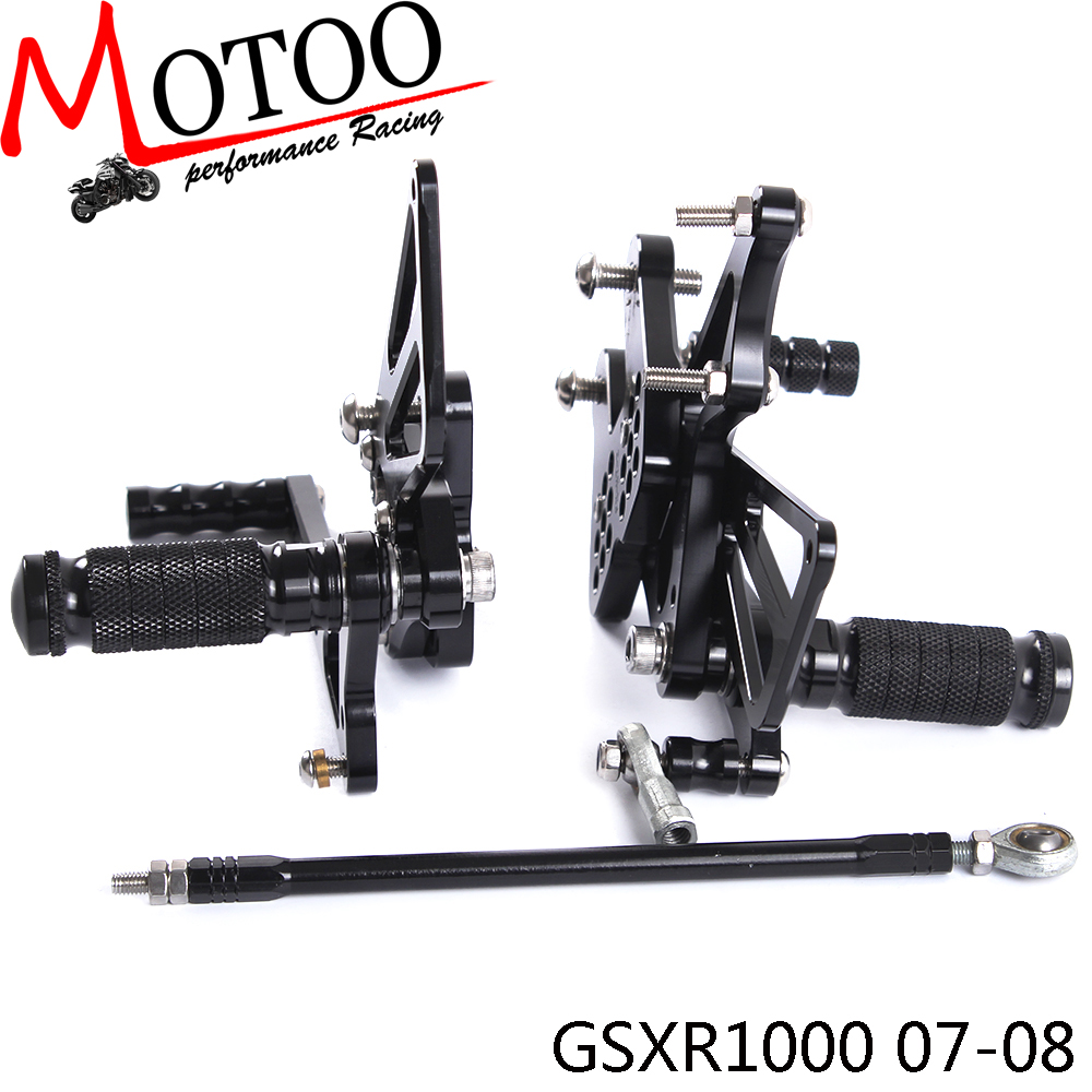 Motoo - Full CNC Aluminum Motorcycle Adjustable Rearsets Rear Sets Foot Pegs For SUZUKI GSXR1000 GSXR 1000 2007 2008