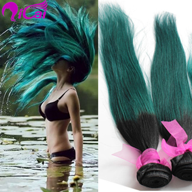 Ombre 2 Tone 1bemerald Teal Green Hair Weave Brazilian Virgin Remy