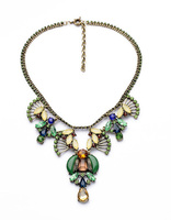 New Arrival Necklace 2014 Resin Glass Zinc Alloy Wholesale Statement 3 Colors Vintage Gem Party Pendant Necklace