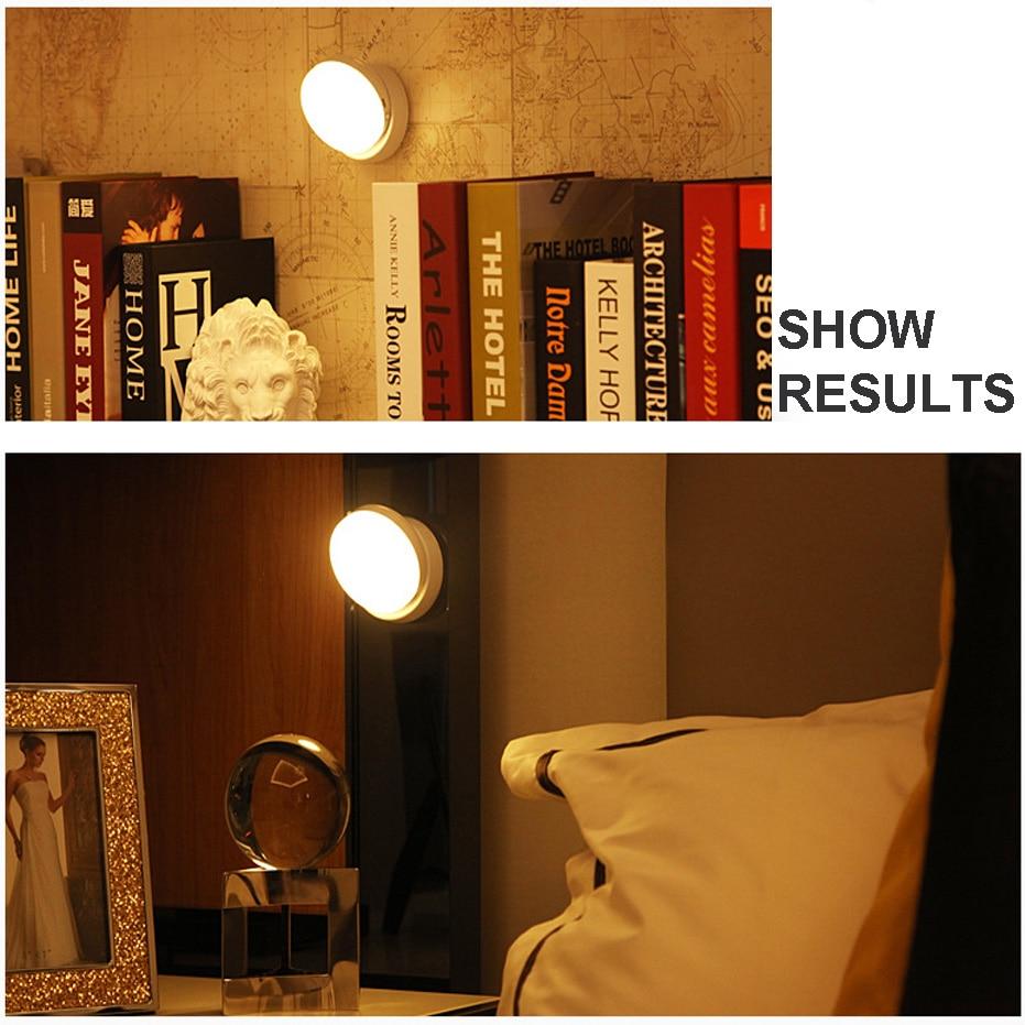 LED Night Light 360 Degree Rotating PIR Motion Sensor Lamp 6 LEDs lighting for Wardrobe Cupboard Closet Kitchen night light 6