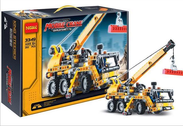Tecnología de La Serie de bloques de construcción de juguetes Decool 3348/3349 grúas Móviles set para Niños regalos de cumpleaños envío libre p015